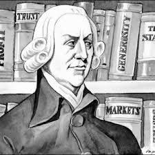 Könyvek előtt álló közgazdász rajza, fekete-fehér kép